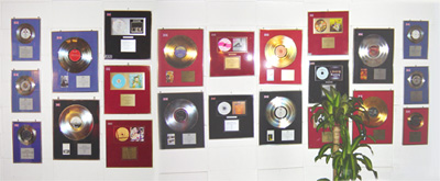 gold discs on wall